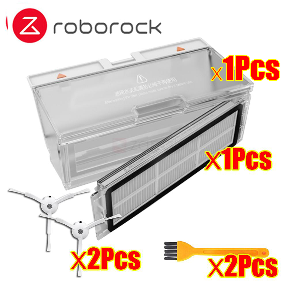 Original Roborock Dust Box Parts Xiaomi Mi Robot Vacuum Generation 2 Cleaner Hepa For Roborock S55 S51 S50 Filter Side Brush