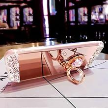 for iphone 7 case New Arrival Luxury Rhinestone Mirror Finger Ring Holder Cell Phone Case Samsung NOTE 8