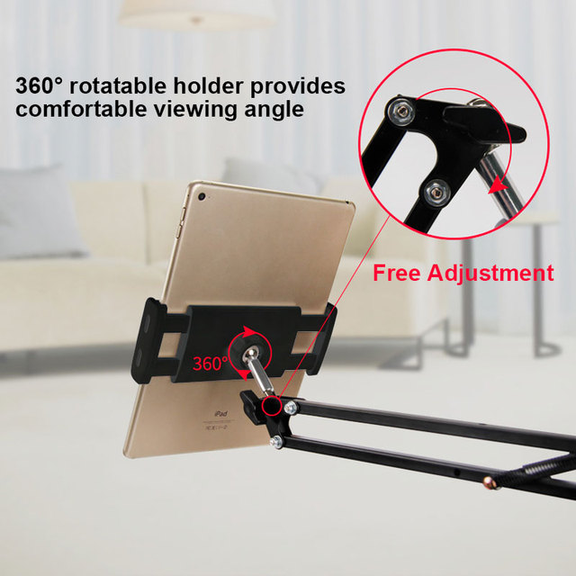 6 to 11inch Mobile phone Tablet Holder Stand For iPad Mini Air Samsung 360 Degree Long Arm Lazy Bed Desk Tablet Mount Support 4