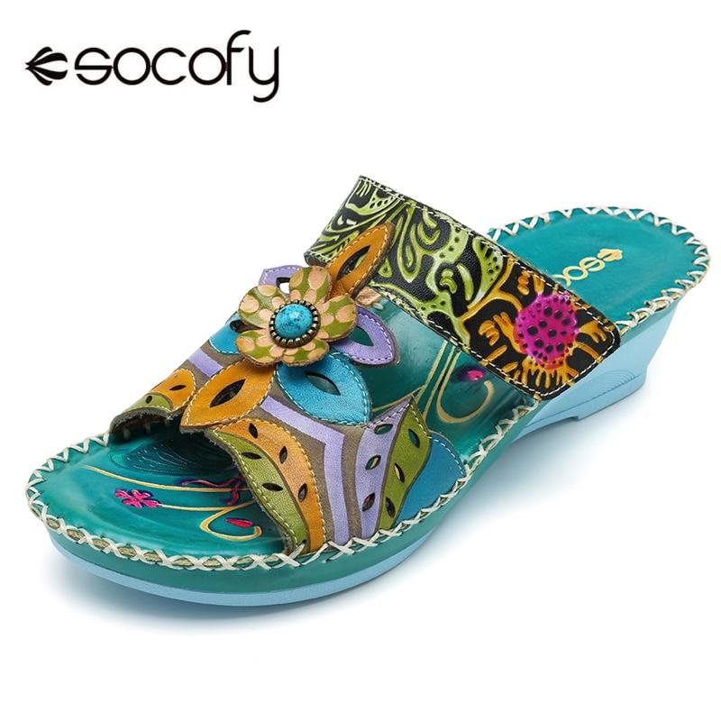 Socofy Bohemian Genuine Leather Shoes Women Sandals Vintage Printing Forest Hook Loop Wedge Heel Women Slippers Summer New