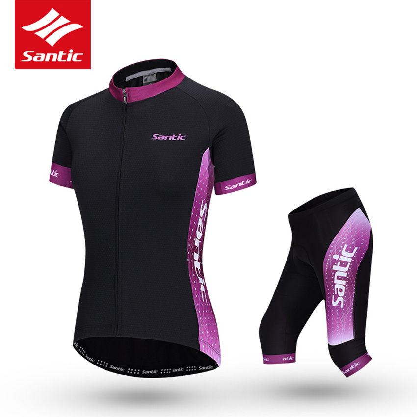 Santic Cycling Jersey Women Set PRO Fit Short Sleeve MTB Road Bike Jersey 4D Pad Cropped Trousers Cycling Sets Ropa Ciclismo monton womens cycling short sets anna mtb jersey pants short suits sports fashion set plus size xxl women clothes suit selection