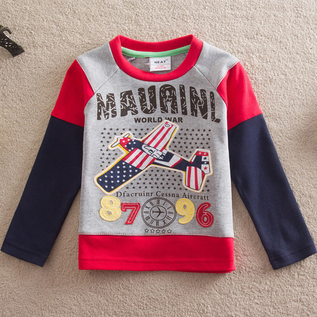 European American Style Plane Design Print Brand Children T Shirts Kids Boys Clothes Long Sleeve