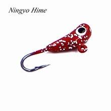 Ningyo Hime Fishing Lures Banana Shaped 4 Pcs Mini Lead Fish Jigging Hooks Lure Ice Fishing Bait1.6g 13mm Winter Fishing Hook