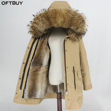 OFTBUY กันน้ำ Parka เสื้อแจ็คเก็ตสตรีฤดูหนาวขนสัตว์จริงขนสัตว์ธรรมชาติคอ Hood กระต่าย FUR Liner ยาว Outerwear Streetwear