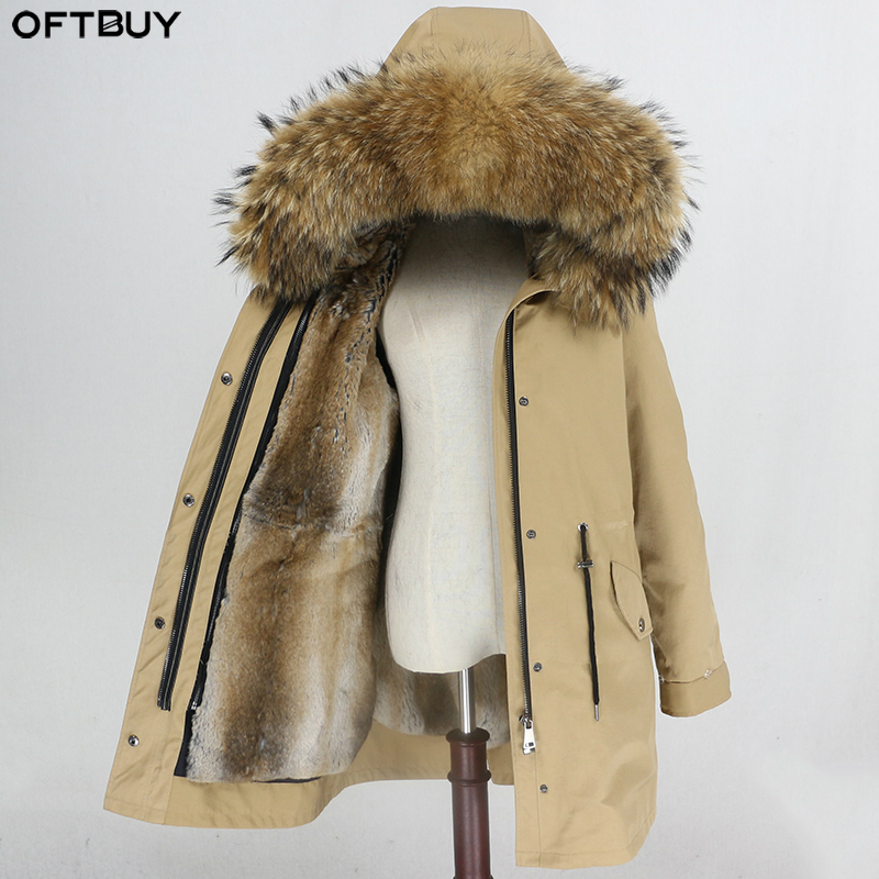 OFTBUY Waterproof Parka Winter Jacket Women Real Fur Coat Natural Fur Collar Hood Rabbit Fur Liner Long Outerwear Streetwear