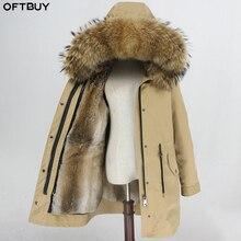 OFTBUY su geçirmez Parka kış ceket kadınlar gerçek kürk ceket doğal kürk yaka Hood tavşan kürk astar uzun giyim Streetwear