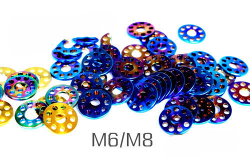 6pcs M6 M8 Ti Shim Pad Washer Bicycle Titanium Porous Alloy Sheet Flat Gaskets