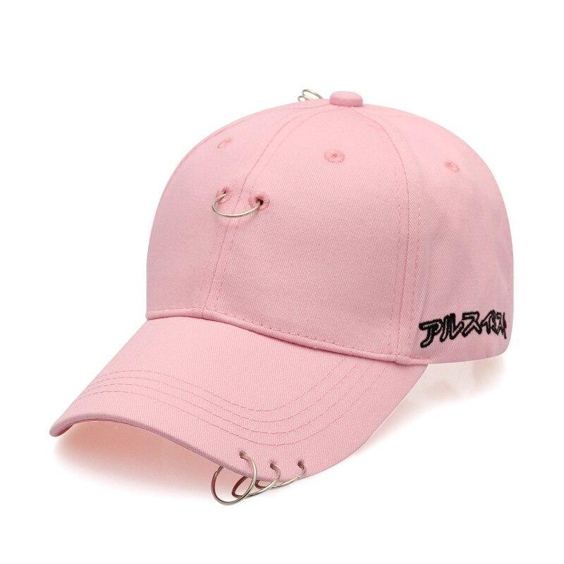 Spring and summer Korean sex needle ring baseball caps pop ring pin Adjustable men and women casual visor sun hat hip hop caps