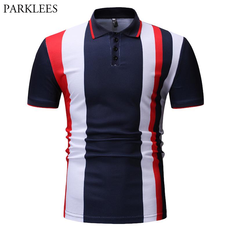 Mens Short Sleeve   Polo   Shirts Fashion Hit Color Striped   Polo   Shirt For Men Casual Fitness Work Sports Daily Wear   Polo   Homme XXXL