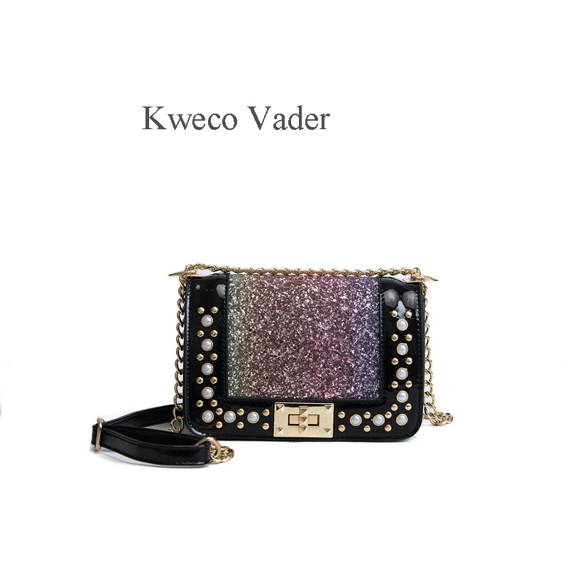 Kweco Vader Women Fashion Handbag Sequins Womens Shoulder Bags High Quality Small Square Bag Women Messanger Bag ...