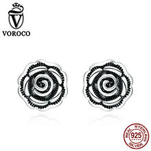 VOROCO Vintage Rose Flower Stud Earrings For Women Retro 925 Sterling Silver Earring Trendy Jewelry Valentine's Day Gift VSE024(China)