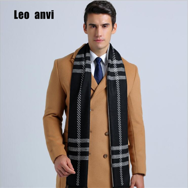 Leo Anvi Fashion Design Plaid Scarf Men Cotton Cashmere Scarf Winter Warm Scarves Luxury Wrap Echarpe Mans Business Scarf