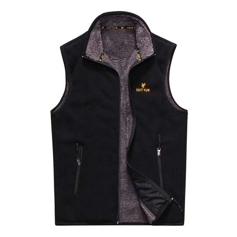 Autumn Winter Men Vest Warm Fleece Vest Sleeveless Jacket Casual Waistcoat Soft Windbreak Man Clothes Plus Size M-3XL
