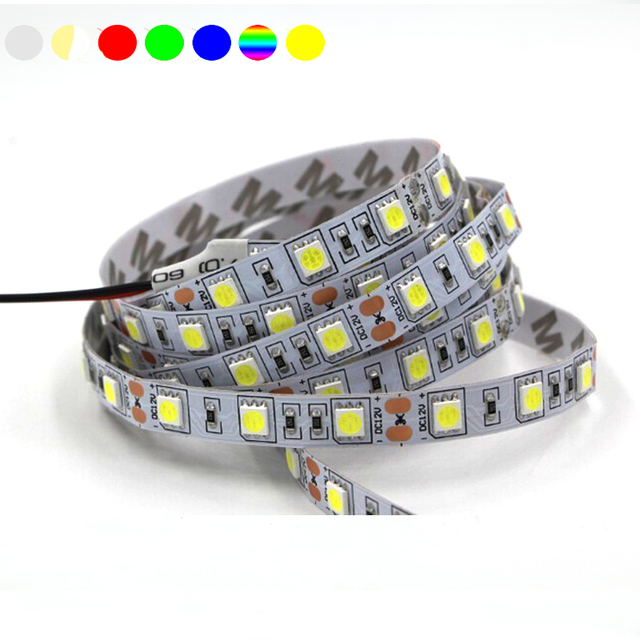 LED Strip 5050 fiexible light 60Led/m DC 12V White,Warm White,Red,Green,Blue,Yellow Free shipping  0.5/1/2/3/4/5M
