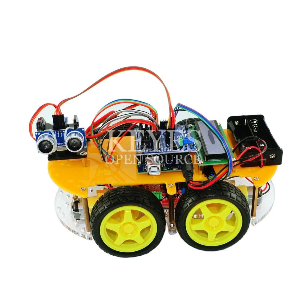 Многофункциональный робот автомобиль комплект Bluetooth шасси костюм отслеживание Совместимость UNO R3 DIY RC электронная игрушка робот с Lcd1602 - 5