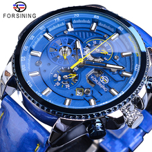 лучшая цена Forsining Blue Dial Luxury Mens Automatic Watches Stainless Steel Calendar Waterproof Genuine Leather Band Mechanical Male Clock