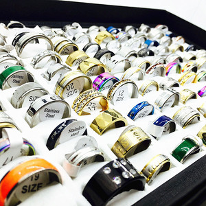 Image 5 - MIXMAX wholesale lots bulk 100pcs women rings set stainless steel couple wedding bands mens jewelry party gifts dropshipping