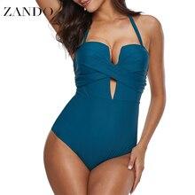 цены на Zando Bandage Sex Women Swimwear  Sling Backless One Piece Slim Swimsuit Cut Out Mnokini Bathing Suit Plus Size Swimwear XXXL  в интернет-магазинах