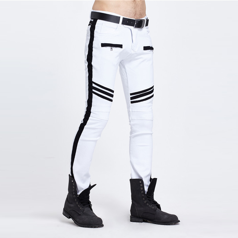 Fashion Men 39 s Pants Wholesale Stitching Fashionable Tide Brand White and Black Panelled Straight Legged Man Jeans Hot sale 2017 in Casual Pants from Men 39 s Clothing