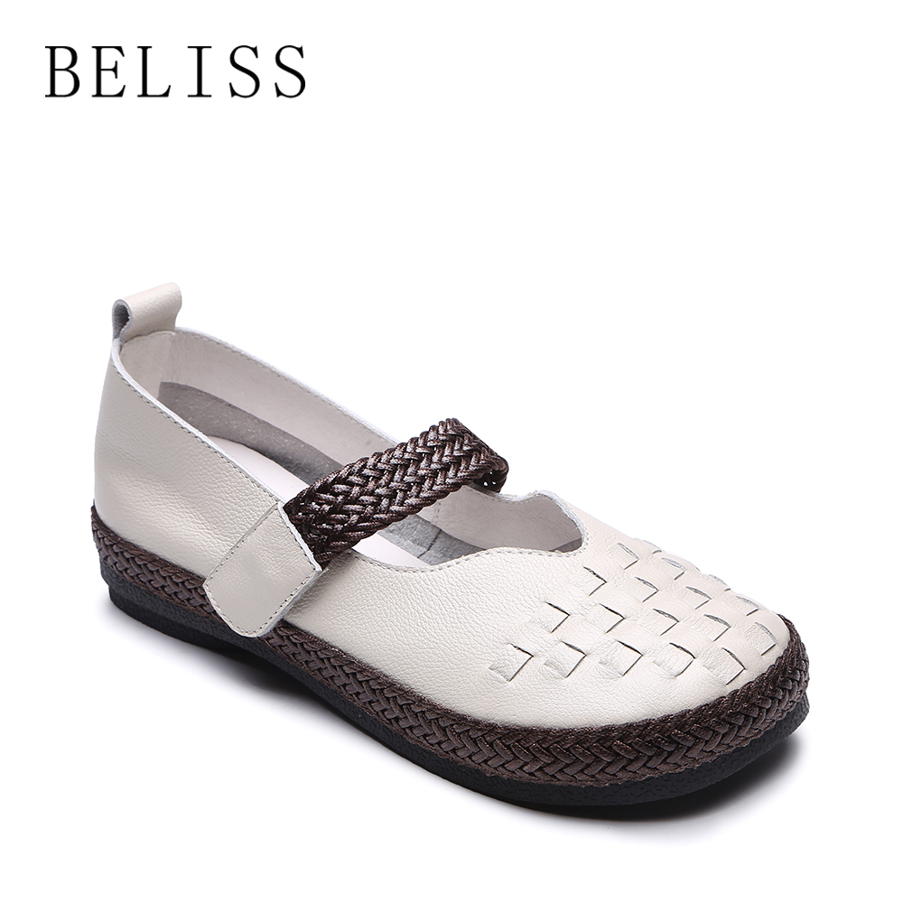 BELISS 35-40 flat shoes women hook loop shallow casual work driving shoes women flats genuine cow leather footwear hot sale P6