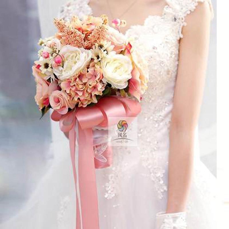 2017 Corpetto Fatto A Mano Di Qualità Superiore In Rilievo Spilla Sposa Bridal Bouquet Da Sposa Damigella D'onore Europa Stati Uniti Avorio Fiore Artificiale