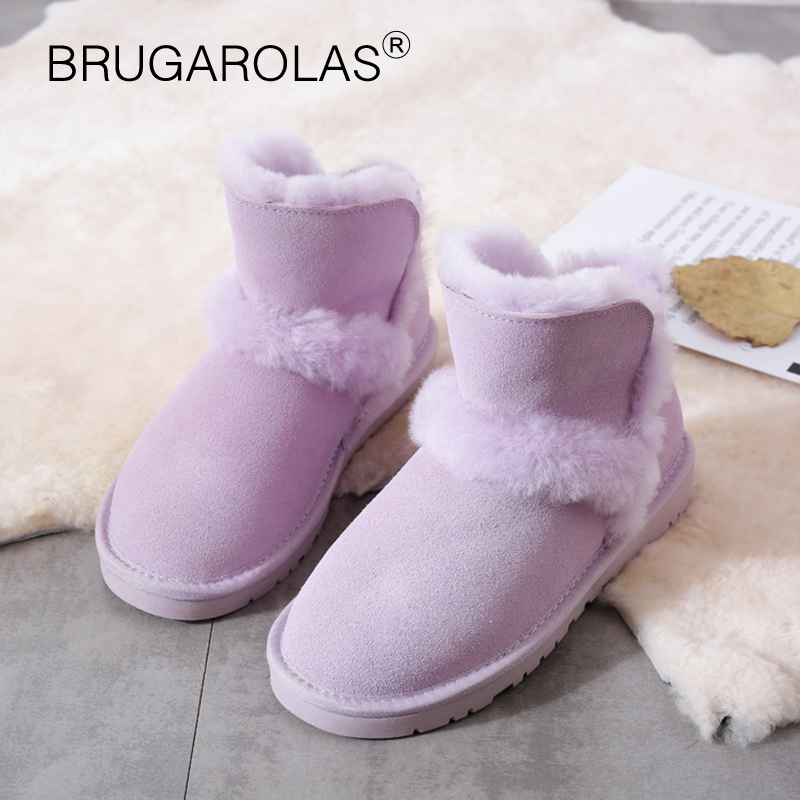 High Quality Genuine sheepskin Leather women Snow Boots Winter ladies ankle short plush Boots Suede Fur Wool Lined Warm Shoes