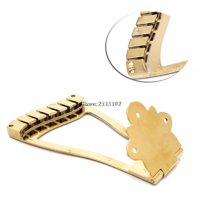 Golden Metal Hollow Body 6 String Guitar Bridge Trapeze Tailpiece Durable new style 6 string saddle headless guitar bridge tailpiece with worm involved string device