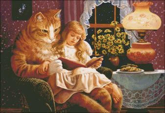 Image result for girl reading book with cats