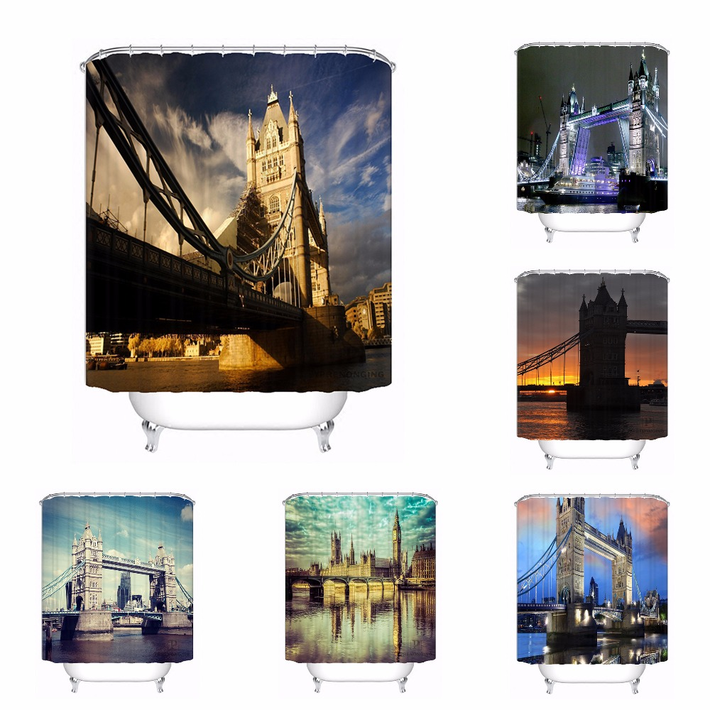 Custom Tower Bridge London@02 Fabric Bath Curtain Bathroom Mildewproof Waterproof Polyester Shower Curtain#180417-02-118