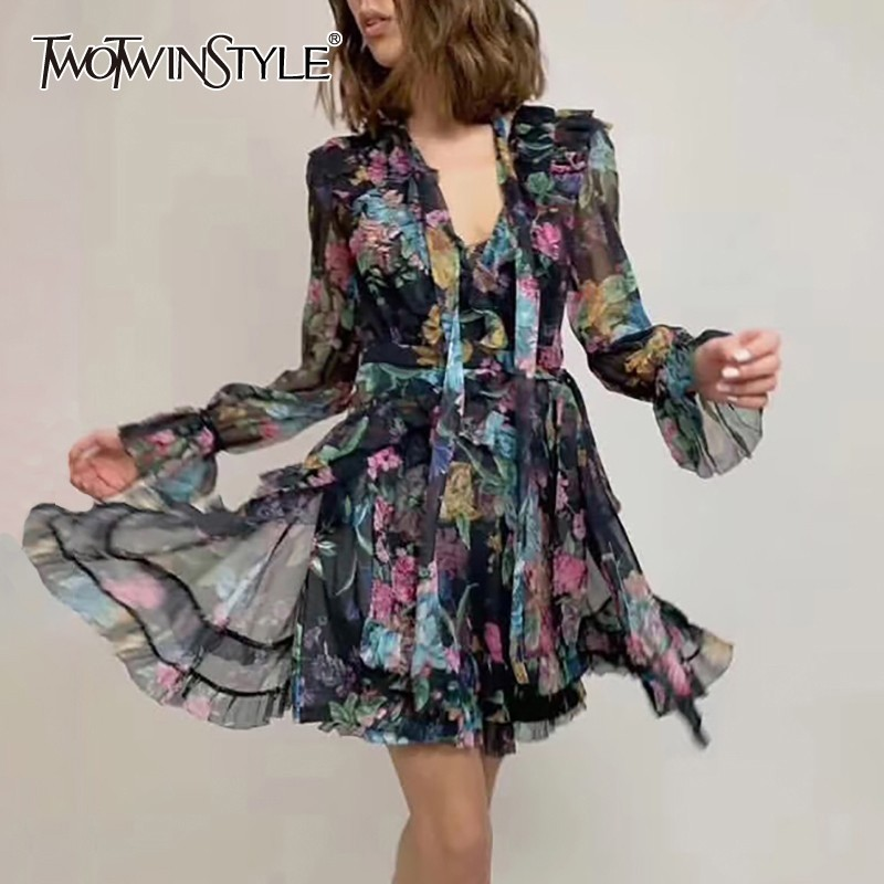 TWOTWINSTYLE Vintage Print Women Dress V Neck Flare Sleeve High Waist Bandage Slim Asymmetrical Mini Dresses
