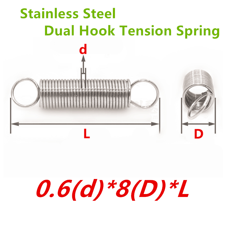 30Pcs/lot 0.6*8*L Stainless steel hardware tension spring,dual hook tension spring,extension spring image