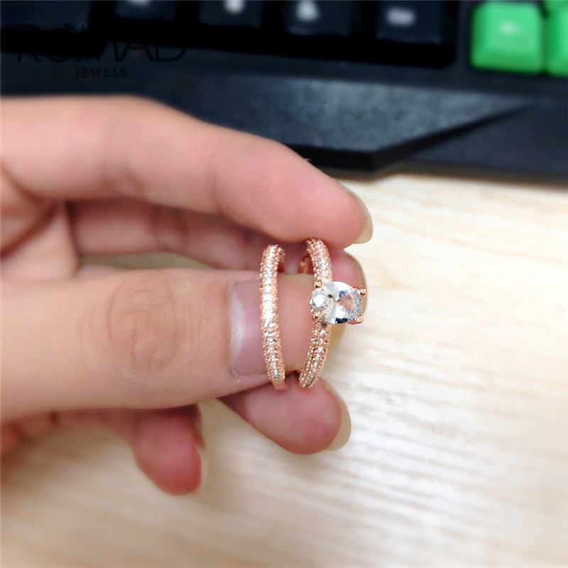 ROMAD 2pcs set Wedding Rings For Women Crystal Engagement Ring Rose Gold Valentine 39 s Day Gift Fashion Jewelry Gift Size 6 10 R3 in Wedding Bands from Jewelry amp Accessories
