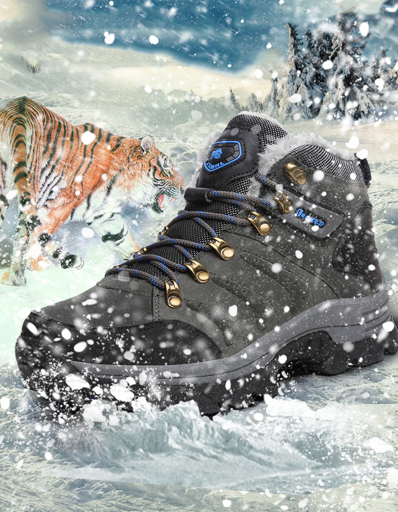 42640a5eed3 Baideng Big Size 48 Hiking Shoes for Men Women Winter Snow Boots Warm Fur  Plush High Top Man Sneakers chaussures hommes en cuir