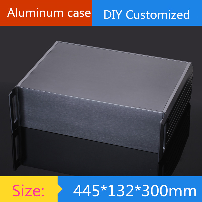 DIY amplifier case size 445*132*300mm Full aluminum 3U amplifier chassis/ instrumentation shell / AMP Enclosure / case / DIY box 2015 full aluminum chassis amplifier case for lm3886 power amp diy box
