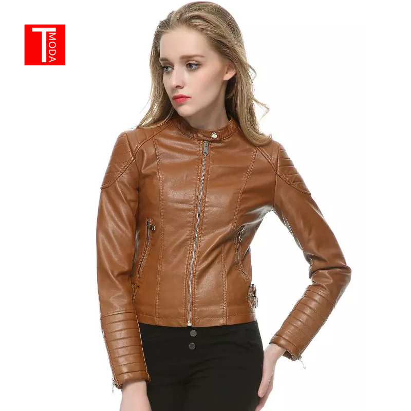 2018 Autumn Winter Women Faux   Leather   Jackets and Coats Lady Pu Motorcycle Brown Zipper Coat Streetwear Biker Outerwear