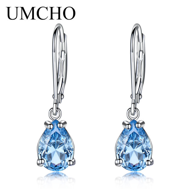 UMCHO Water Drop Created Sky Blue Topaz Clip Earrings Gemstones 925 Silver Jewelry For Women Elegant Wedding Gift Fine Jewelry