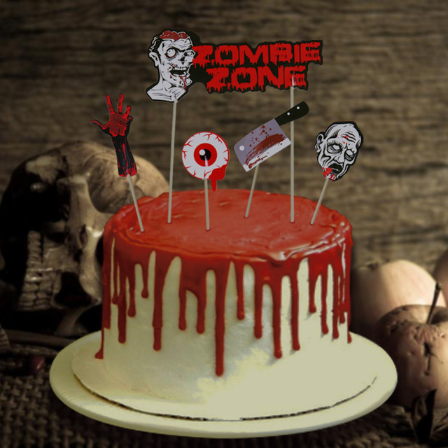 Set Of 9 Spooky Halloween Cake Toppers Bloody Butcher Knife Eyeballs Skeleton Hand Zombie Party Ballons Photo Props Swirls