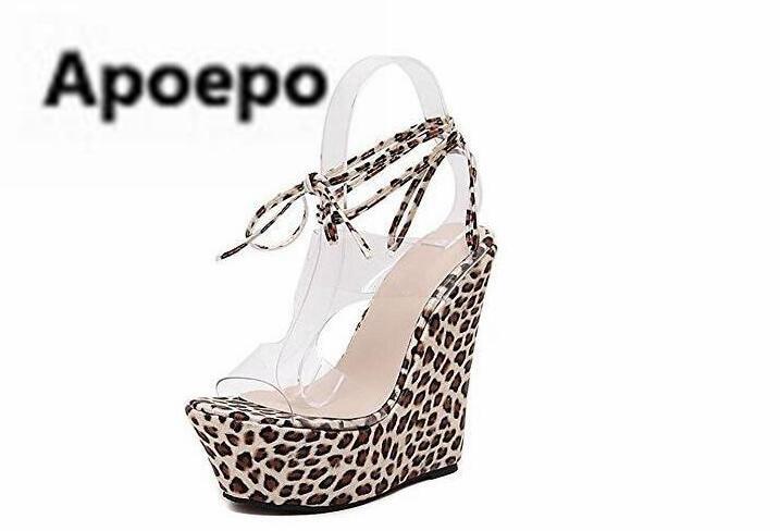 sales Brand Leopard wedges sandals women PVC Transparent peep toe high heels sandals summer lace up ladies shoes gladiator shoe цена