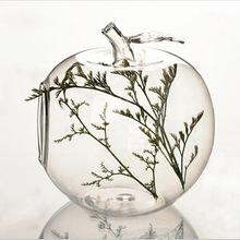 Shipping hanging glass apple bubble round pots flower vases terrarium candle holder for Christmas wedding decorations