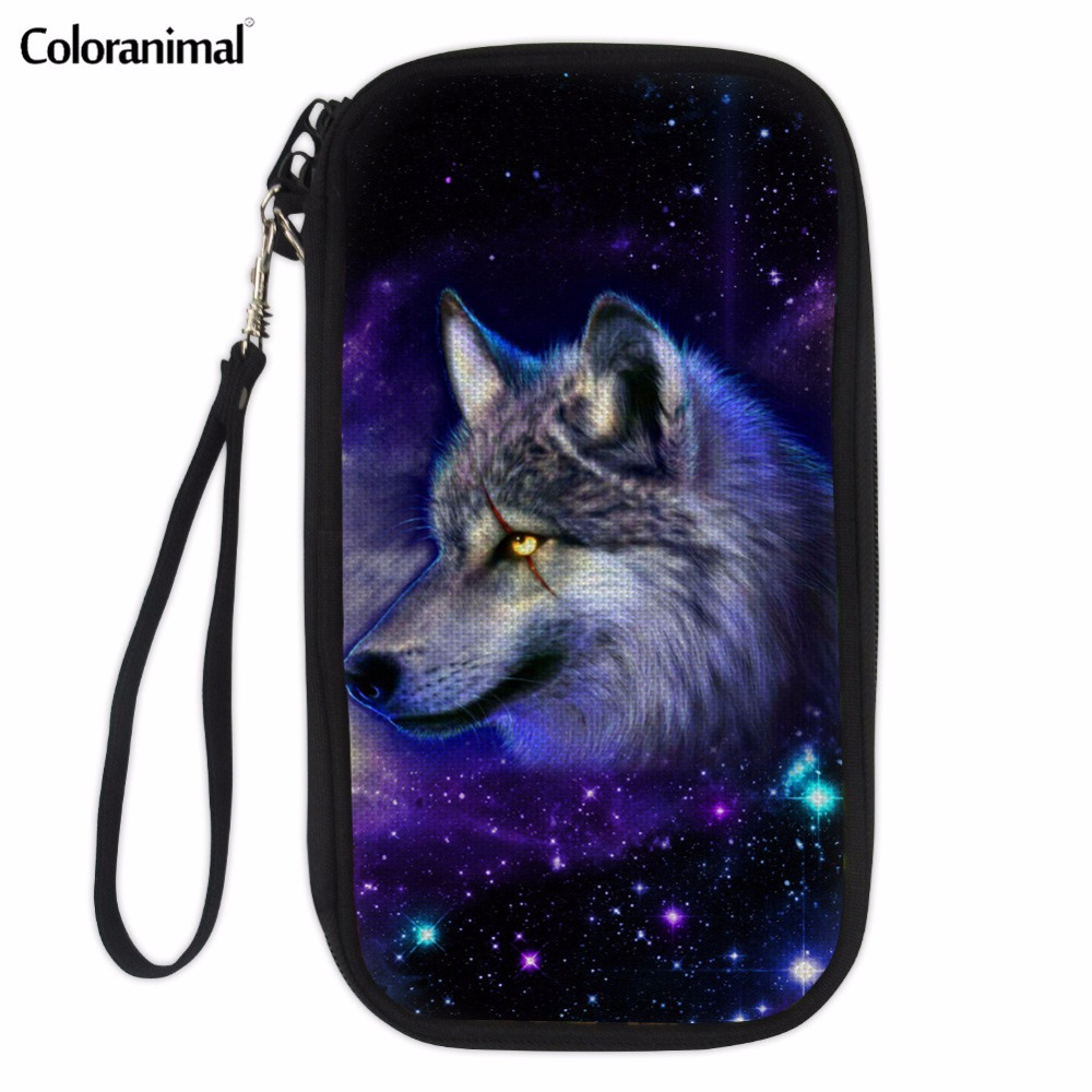 Coloranimal Passport Package for Women Men 3D Animal Wolf Crazy Horse Printed Woman Man Casual Credit Card Passport Wallet Bags