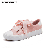 Vintage Canvas Sneakers Women Pink Shoes With Ribbon Spring 2018 New Harajuku Wind Shoes Fashion Flat