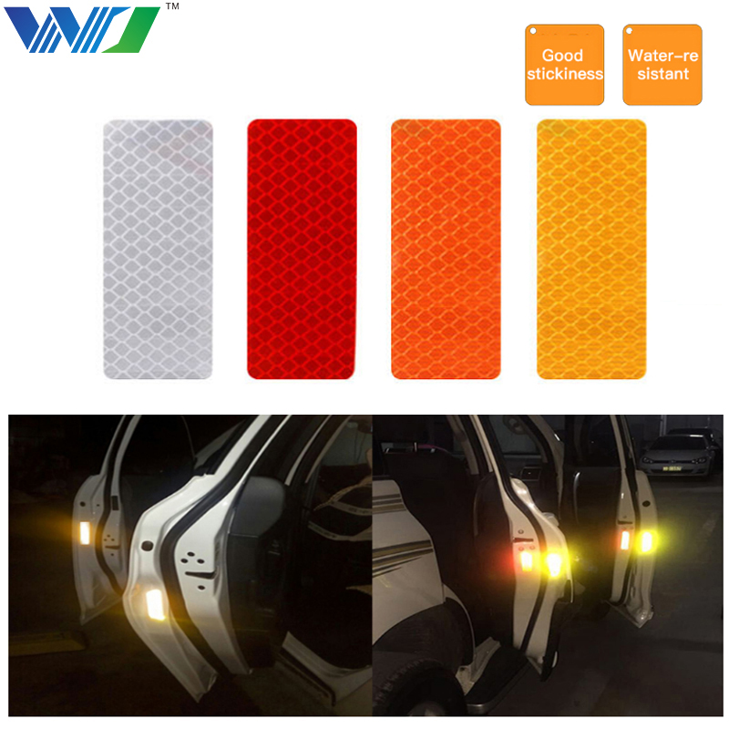 WJ 2Pcs 12X4cm Reflective Warning Strip Tape Car Bumper Reflective Strips Secure Reflector Stickers Decals Car Styling racing middle size resident evil decals bumper stickers for car