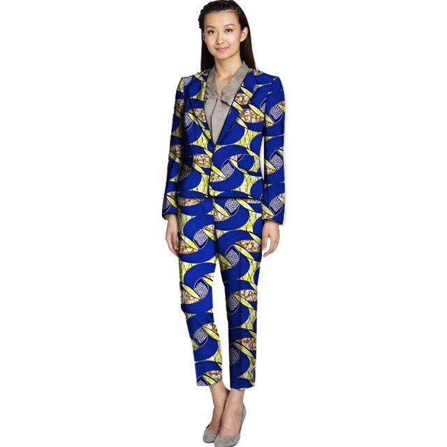 Costumbre africana mujeres moda traje y la pantorrilla pantalones de ladie slim fit blazer + pant suits señoras dashiki ropa