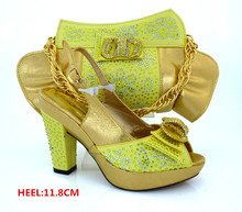 Yellow Italy Shoes and Bag Set High Quality Italian Matching Shoe and Bag Women Wedding Shoe and Bag  for Parties  MM1019