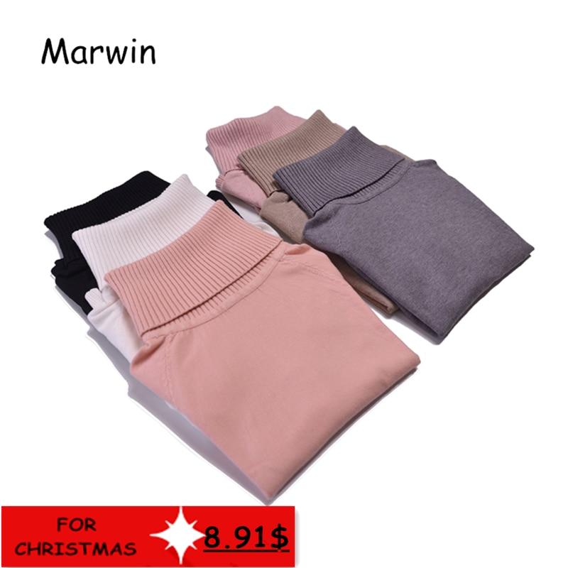 Marwin 2018 Otoño Invierno gruesa giro-abajo Collar de alta elasticidad de jerseys mujer grueso de punto cuello alto suéter de las mujeres