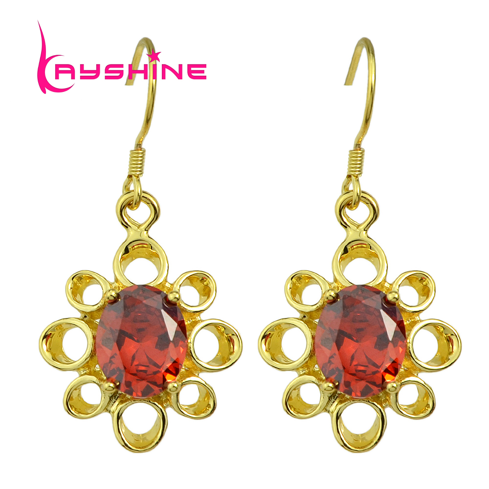 Kayshine Fashionfemale Earrings Costume Jewelry Rosegold Plated Gold Silver  Cubic Zirconia Flower Dangle Earrings Brincos