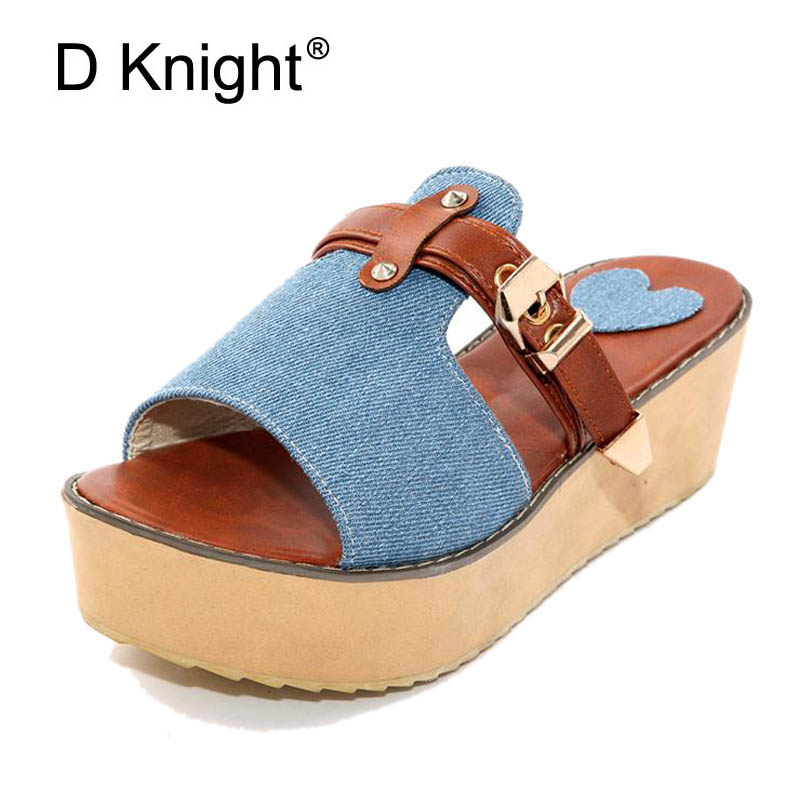 Platform High Heels Sandals Women Wedges Denim PU Open Toe Women Wedge Beach Slippers Ladies Casual Summer Shoes Plus Size 30-43 mudibear women sandals pu leather flat sandals low wedges summer shoes women open toe platform sandals women casual shoes