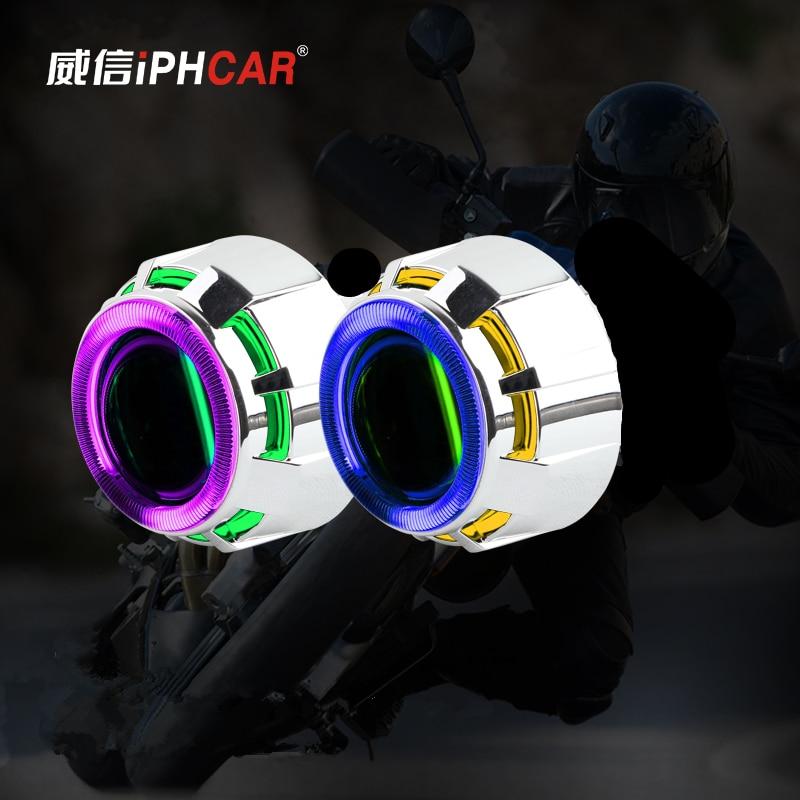 Livraison gratuite iphone car feux de croisement H1 moto Mini projecteur phare avec Double CCFL Angel Eyes sans ampoule et Ballast