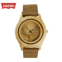 2017 Deer Head Design Bamboo Wooden Watches Luxury Wooden Quartz Watches With Brown Leather Strap Unisex