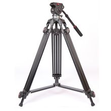 лучшая цена JIEYANG JY0508 JY-0508 JY0508B Professional Camera Tripod Video Tripod/Dslr Tripod Fluid Head Damping video with tripod bag